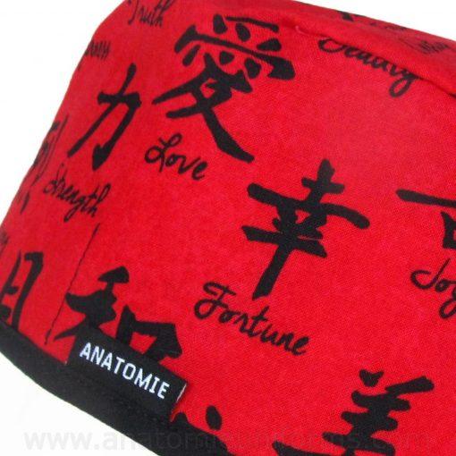 Gorros Quirofano Rojo Letras Chinas - 0108b